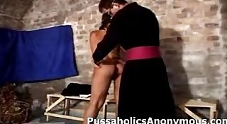 Horny nun is hard at work