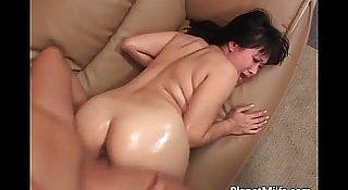 Very horny Asian milf rides big cock