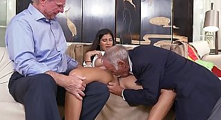 Old guys get sucked off by Latina Teen